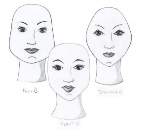 pear heart & diamond face shapes